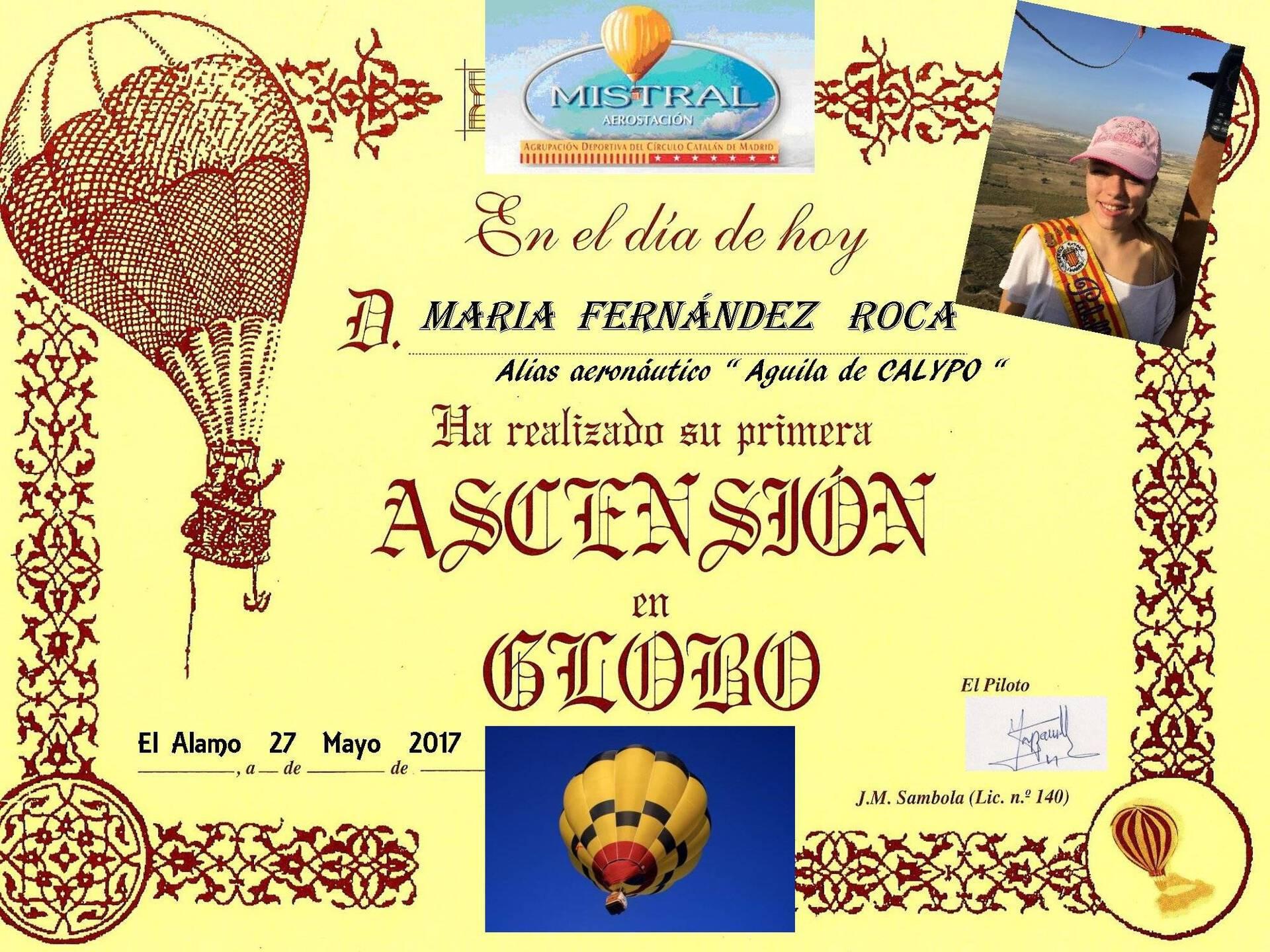 Pubilla 2017 - María Fernandez - Diploma vuelo