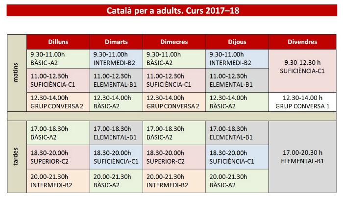 Català horaris 2017-2018